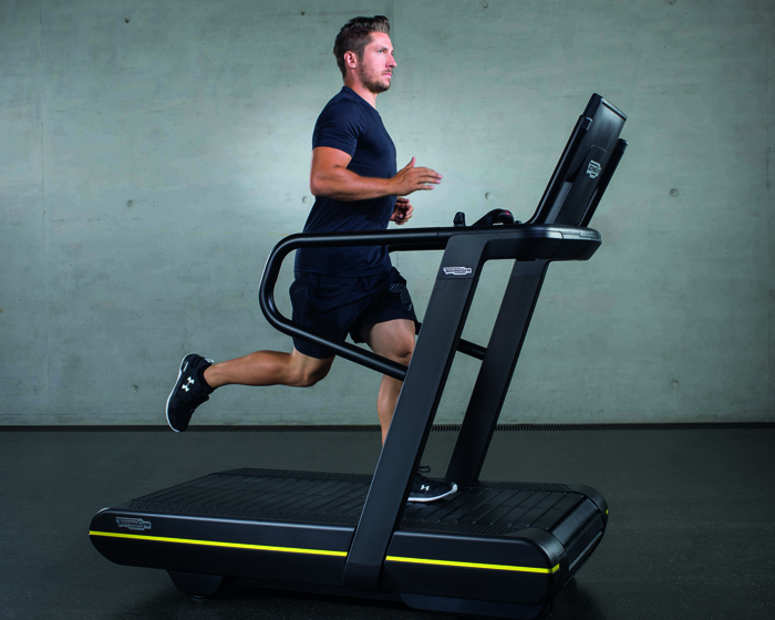 Six-time Ski World Champion Marcel Hirscher trains on the Technogym SkillRun