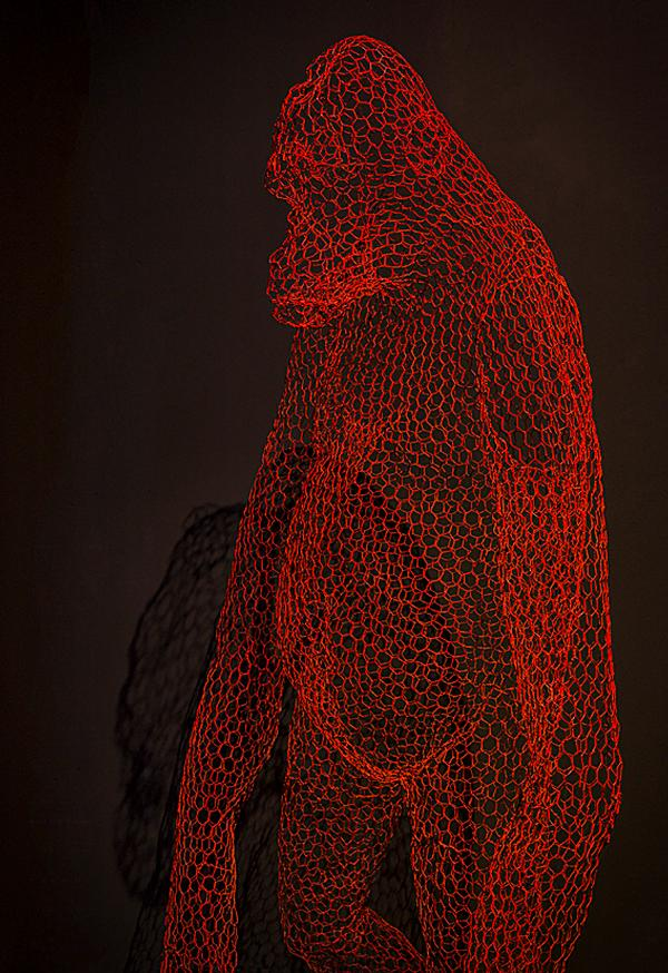 Artworks remind guests of their proximity to Berlin Zoo, including two gorillas made of chicken wire by artist Benedetta Mori