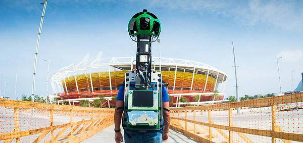 The Google team used 'Trekker' to capture footage of the Olympic venues which was shared on Google Street View and Google Maps