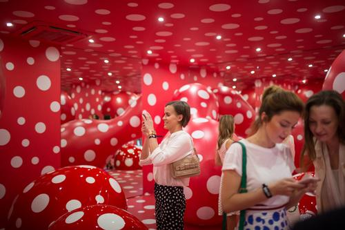 There are two levels of exhibition galleries, including this installation by Yayoi Kusama / Garage Museum of Contemporary Art