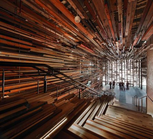 Hotel Hotel in Canberra uses repurposed timber throughout the lobby / John Gollings