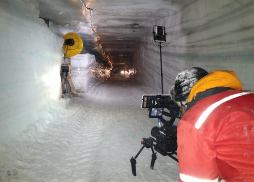 The IceCave attraction is currently being built inside the Langjökull Glacier / IceCave