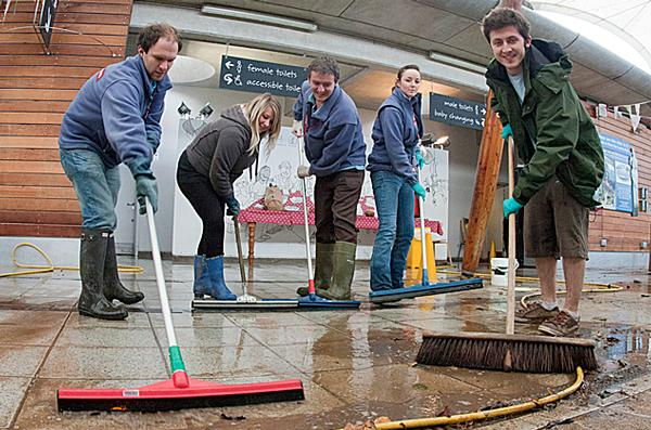 Staff clean up after floods hit Eden