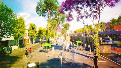 Terraces and water features will be created alongside the 18th-century viaduct arches