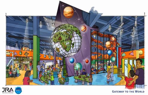 Gateway to the World is a two-storey climbing structure, where children will climb through the layers of the earth before entering an interactive globe with six continent-shaped tables / Jack Rouse Associates