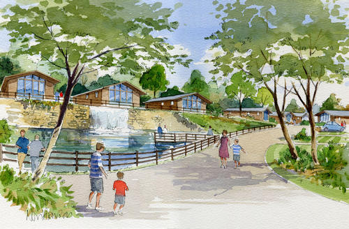 An artist's impression of log cabin accommodation to be built at Lightwater Valley