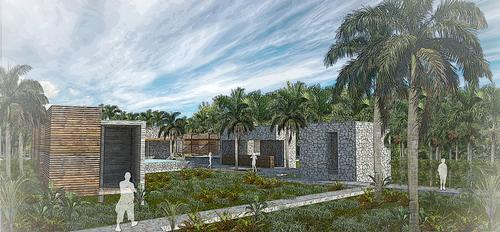 The Yamani Healing project's design features raised walkways to protect the jungle floor / Yamani Healing