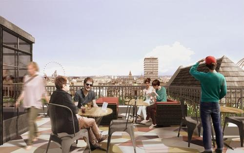 The cinema's rooftop terrace offers views over Piccadilly / Panter Hudspith