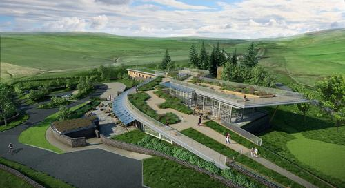 Aerial view rendering of the Sill National Landscape Discovery Centre by architects Jane Darbyshire and David Kendall / JDDK Architects