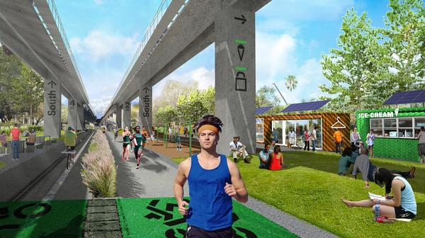 The land beneath Miami's Metrorail is being transformed into a public space with an urban park and trail