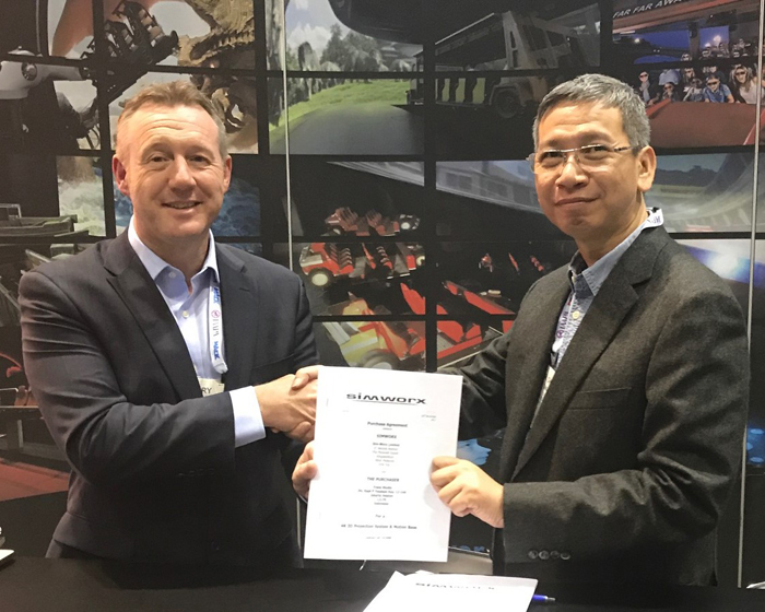 Simworx MD Terry Monkton (left) with Trans Studios' Chairal Tanjung