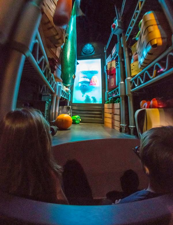 Guests travel through an oversized pantry that replicates scenery from the Ratatouille film