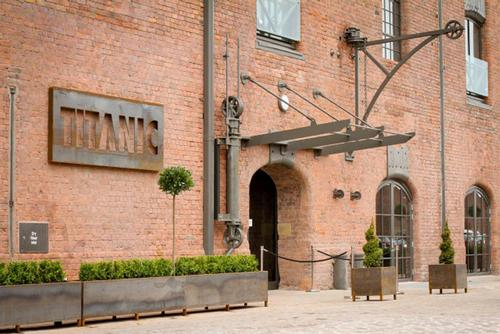 The 1855 facade of The Titanic Hotel, a renovated tobacco warehouse in Jesse Hartley's Stanley Dock, Liverpool / The Titanic Hotel