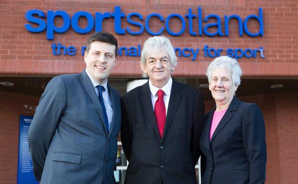 Young (centre) stands with Louise Martin (right), who served as sportscotland chair for eight years, and former Scottish sports minister Jamie Hepburn (left)