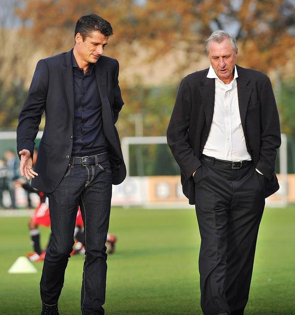 Jonk (left) was mentored by Cruyff (right) at Ajax Amsterdam