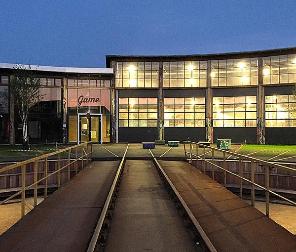The former train shed has been repurposed and is now home to facilites for skateboarding, football, parkour and basketball