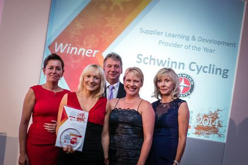 Representatives from Schwinn Cycling collect their award from CIMSPA's David Stalker (centre) and Tara Dillon (left), plus Active IQ's Jenny Patrickson (right) at last year's event