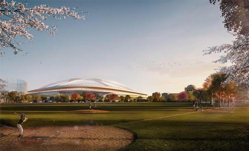 On, off, on and off again. Zaha Hadid withdraws from Tokyo stadium competition / Render by Zaha Hadid Architects ©