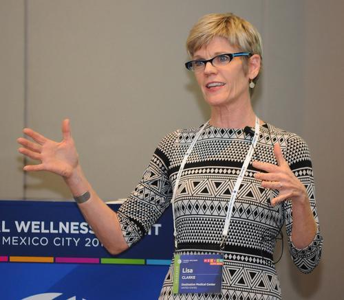 Lisa Clarke spoke to delegates of Global Wellness Summit about DMC's plan for Minnesota / Global Wellness Institute