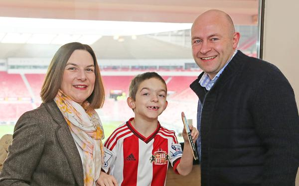 The new sensory room at Sunderland FC's Stadium of Light provides a calm space for Nathan Shippey to enjoy football with his parents, Kate and Peter