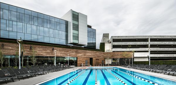 The outdoor pool will serve as an ice rink during the winter. The club also features an indoor pool