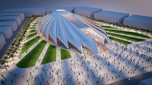 The UAE pavilion is modelled on birds' wings