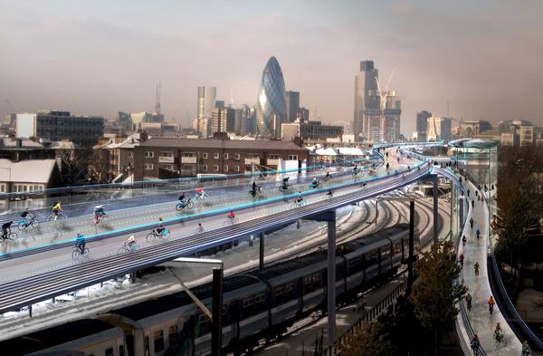 Foster's vision is to utilise the space above existing urban railways