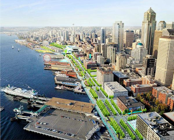 The plans aim to reclaim the waterfront as a public space