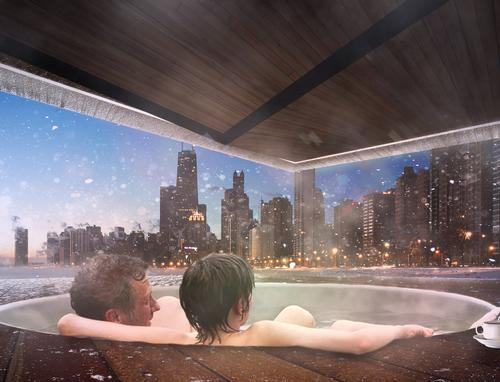 During winter, the kiosks are designed to face away from the wind and look towards Chicago's skyline / Urban Therme