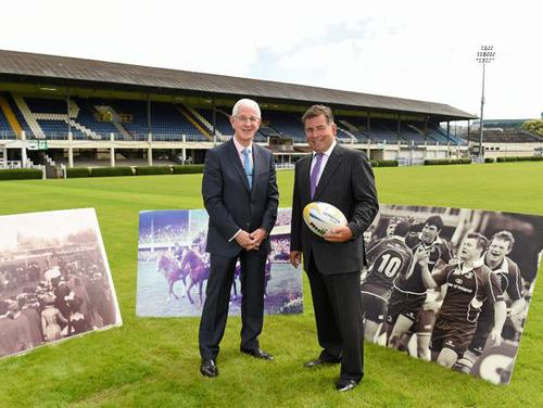 Michael Duffy, CEO of the RDS (left) with Michael Dawson, CEO of Leinster Rugby at the announcement of plans to redevelop the RDS Arena / Matt Browne/Sportsfile