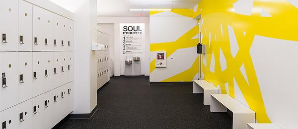 SoulCycle provides communal locker rooms for members
