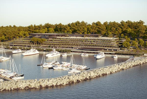 The hotel will face the marina. Many of its buildings will be covered with greenery