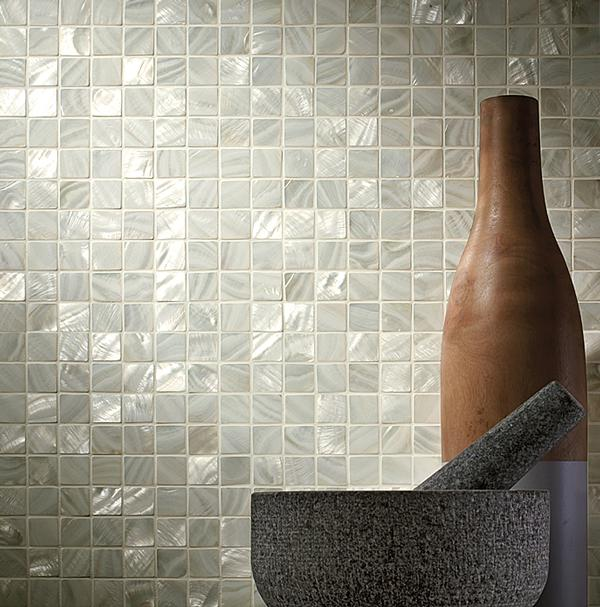 Siminetti's mother-of-pearl mosaics are made from sustainable freshwater pearl and sealed with resin