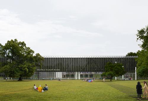 The Spanish vision for the Dessau-based museum is a long rectangular form with an external structural frame / Gonzalez Hinz Zabala