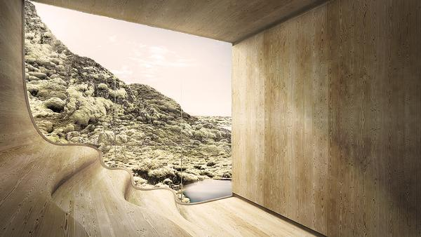 Johannes Torpe has designed the spa so that the views of the landscape dominate throughout