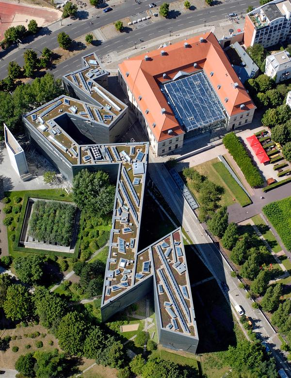 An aerial view shows the zigzagging footprint of the Jewish Museum in Berlin, Libeskind's first project