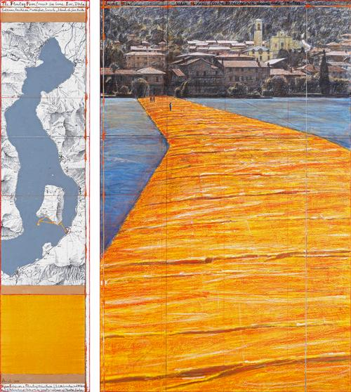Shimmering yellow fabric will cover Christo's The Floating Piers, which will undulate with the movement of the waves  / Christo