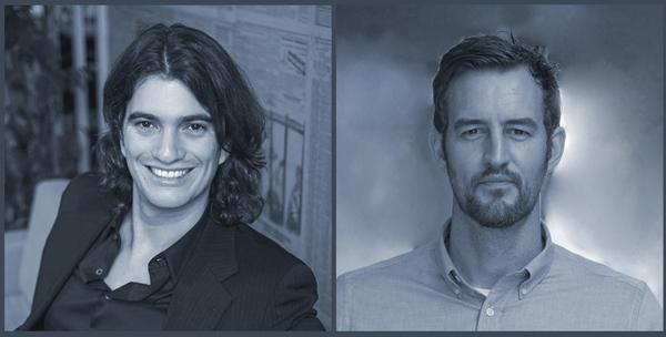 WeWork founders Adam Neumann (left) and Miguel McKelvey