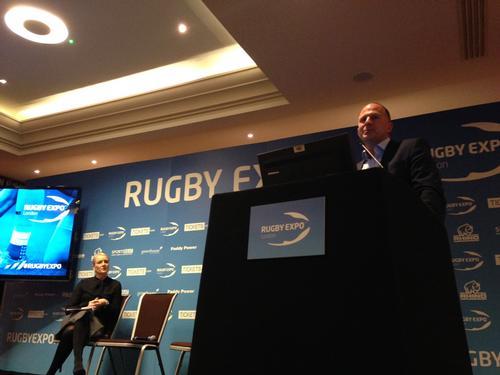 RFU development director Steve Grainger addresses delegates at Rugby Expo / Matthew Campelli