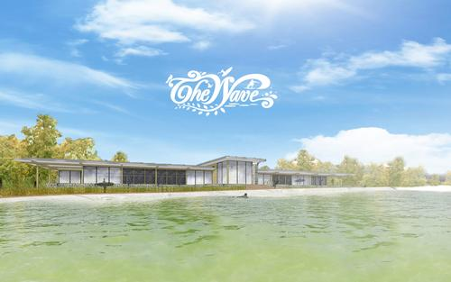 A CGI of how the visitor centre will appear, overlooking the surf lake / APG Architecture