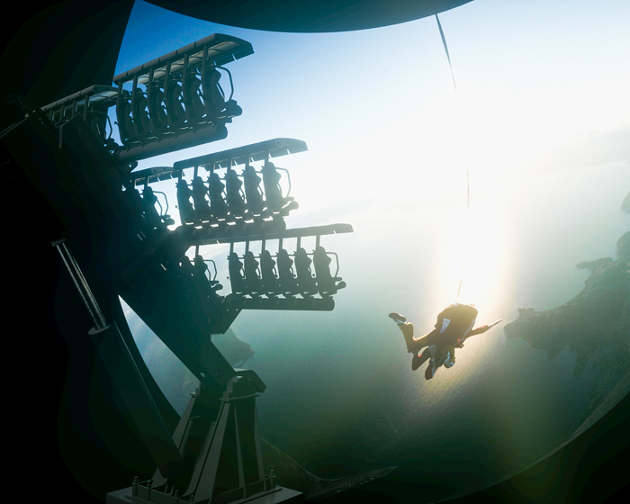 Movie Base XS performs complex movements in space, simulating the process of flight