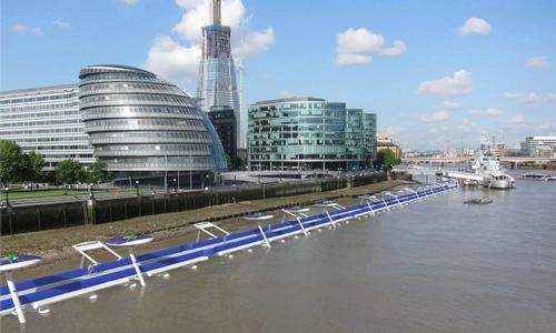 The proposed floating bikeway would take cyclists past famous London landmarks like City Hall and the Shard / Thames Deckway