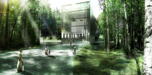 Visitors will enter the museum via a path through the local forest / Bjarke Ingels Group