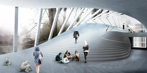 The fanning staircase inside will double as an informal seating area and performance space / Bjarke Ingels Group