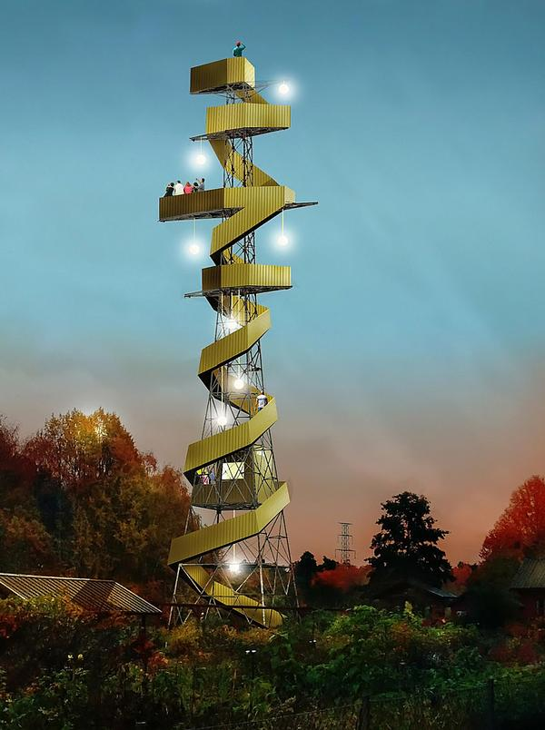 The wooden stairways and platforms have been designed as a contrast to the original metal pylon towers / Anders Berensson Architects