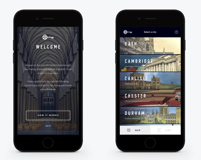 The England's HIstoric Cities app is available at a dozen UK heritage sites