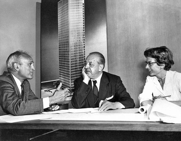 Architects Phillip Johnson and Mies van der Rohe (centre) plan the Four Seasons' opening in 1958