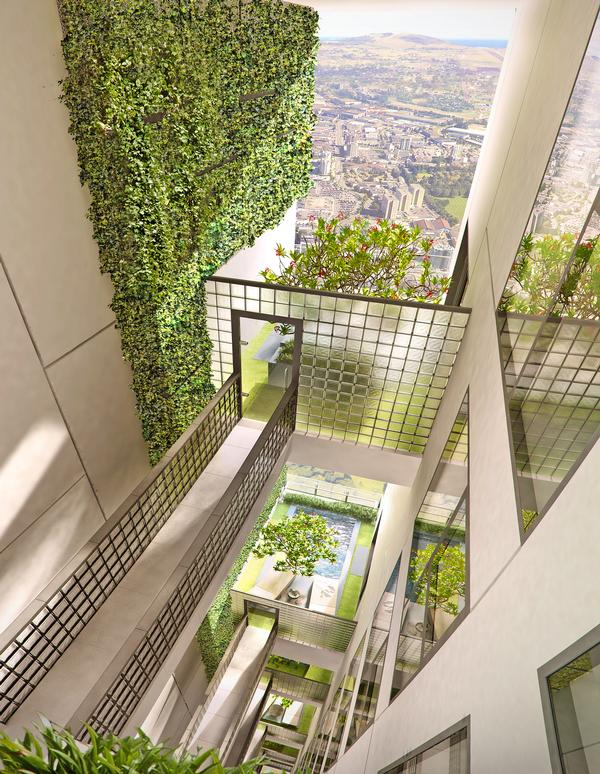 New Cuffe Parade in Mumbai, India, is built around expansive green space and courtyards, designed  by landscape firm Sitetectonix