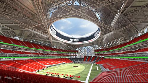 The stadium includes the world's largest 360 degree HD video screen