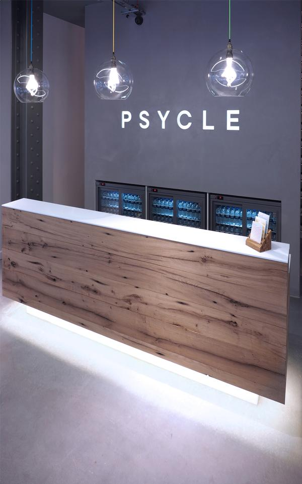 Psycle's reception-lounge area is light, spacious and modern